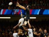 Wales player Luke Charteris wins a lineout ball during the 2015 Rugby World Cup Pool A match between Wales and Fiji at Millennium Stadium on October 1, 2015