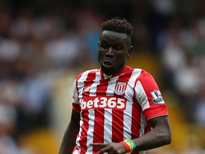 Mame Biram Diouf of Stoke City in action during the Barclays Premier League match between Tottenham Hotspur and Stoke City on August 15, 2015