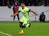 Manchester City's Argentinian forward Sergio Aguero celebrates scoring during the UEFA Champions League first-leg Group D football match between Borussia Monchengladbach and Manchester City in Monchengladbach, western Germany on September 30, 2015