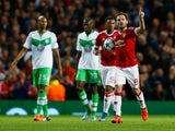 Juan Mata of Manchester United (8) celebrates as he scores their first and equalising goal from the penalty spot during the UEFA Champions League Group B match between Manchester United FC and VfL Wolfsburg at Old Trafford on September 30, 2015