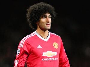 Marouane Fellaini of Manchester United during the UEFA Champions League Qualifying Round Play Off First Leg match between Manchester United and Club Brugge at Old Trafford on August 18, 2015 in Manchester, England.