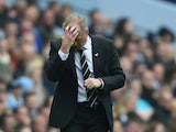 Newcastle manager Steve McClaren looks dejected during the Barclays Premier League match between Manchester City and Newcastle United at Etihad Stadium on October 3, 2015