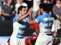 Argentina's fly half Nicolas Sanchez (L) celebrates with Argentina's centre Jeronimo de la Fuente after a Pool C match of the 2015 Rugby World Cup between Argentina and Tonga at Leicester City Stadium in Leicester, central England, on October 4, 2015
