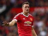 Phil Jones of Manchester United on the ball during the Barclays Premier League match between Manchester United and Sunderland at Old Trafford on September 26, 2015 in Manchester, United Kingdom.