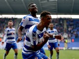 Reading players celebrate during the Sky Bet Championship match between Reading and Middlesbrough at Madejski Stadium on October 3, 2015