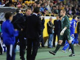 Robert Green of England walks up the tunnel after being sent off during the FIFA 2010 World Cup Group 6 Qualifying match between Ukraine and England at the Dnipro Arena on October 10, 2009