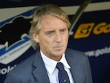 Inter Milan's coach from Italy Roberto Mancini looks on before the Italian Serie A football match Sampdoria vs Inter Milan on October 4, 2015 at Luigi Ferraris Stadium in Genoa.