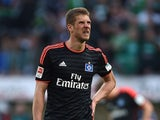 Hamburg's Serbian defender Slobodan Rajkovic reacts after the German first division Bundesliga football match SV Werder Bremen vs Hamburger SV in Bremen, northern Germany, on April 19, 2015. Bremen won the match 0-1.