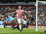 Marko Arnautovic of Stoke City reacts during the Barclays Premier League match between Aston Villa and Stoke City at Villa Park on October 3, 2015