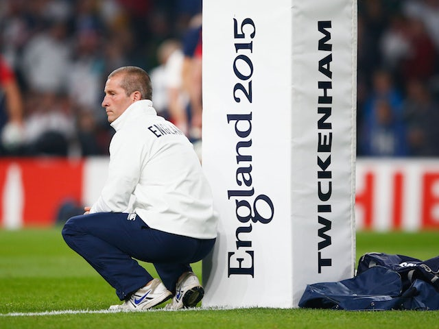Stuart Lancaster, Head Coach of England looks on during the 2015 Rugby World Cup Pool A match between England and Australia at Twickenham Stadium on October 3, 2015 in London, United Kingdom.