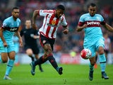 Jeremain Lens of Sunderland scores his team's second goal during the Barclays Premier League match between Sunderland and West Ham United at the Stadium of Light in Sunderland on October 3, 2015
