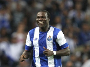 Porto's Cameroonian forward Vincent Aboubakar celebrating scoring Porto's goal during the match between FC Porto and Vitoria Guimaraes for the Portuguese Primeira Liga at Estadio do Dragao on August 15, 2015