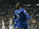 Everton's Belgian striker Romelu Lukaku celebrates scoring Everton's third goal during the English Premier League football match between West Bromwich Albion and Everton at The Hawthorns in West Bromwich, central England, on September 28, 2015.