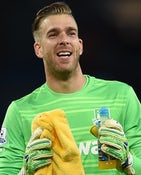 West Ham United's Spanish goalkeeper Adrian celebrates after his team's 2-1 victory during the English Premier League football match between Manchester City and West Ham United at The Etihad Stadium in Manchester, north west England on September 19, 2015.