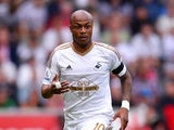 Swansea player Andre Ayew in action during the Barclays Premier League match between Swansea City and Newcastle United at the Liberty stadium on August 15, 2015