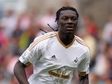 Swansea player Bafetimbi Gomis in action during the Barclays Premier League match between Swansea City and Newcastle United at the Liberty stadium on August 15, 2015