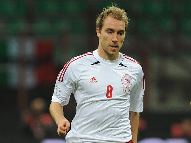 Christian Eriksen of Denmark in action during the FIFA 2014 World Cup qualifier match between Italy and Denmark at Stadio Giuseppe Meazza on October 16, 2012 in Milan, Italy.