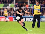 New Zealand fly-half Dan Carter kicks at goal during the Rugby World Cup Pool C contest against Tonga on October 9, 2015