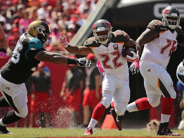 Doug Martin #22 of the Tampa Bay Buccaneers rushes during a game against the Jacksonville Jaguars at Raymond James Stadium on October 11, 2015 in Tampa, Florida.