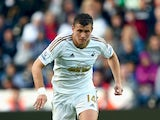 Swansea player Franck Tabanou in action during the Pre season friendly match between Swansea City and Deportivo La Coruna at Liberty Stadium on August 1, 2015