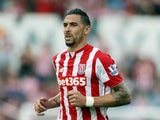Geoff Cameron of Stoke City in action during the Barclays Premier League match between Stoke City and Leicester City at Britannia Stadium on September 19, 2015 in Stoke on Trent, England.