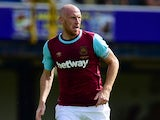 James Collins of West Ham United in action during the pre season friendly match between Southend United and West Ham United at Roots Hall on July 18, 2015 in Southend, England.