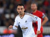 Swansea player Leon Britton in action during the Capital One Cup Second Round match between Swansea City and York City at Liberty Stadium on August 25, 2015