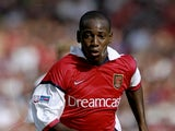 Luis Boa Morte of Arsenal in action during the FA Charity Shield match against Manchester United played at Wembley Stadium in London, England. The match finished in a 2-1 victory to the Arsenal.