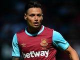 Mauro Zarate of West Ham United during the Betway Cup match between West Ham Utd and SV Werder Bremen at Boleyn Ground on August 2, 2015 in London, England.