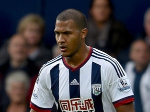 Salomon Rondon of West Bromwich Albion in action during the Barclays Premier League match between West Bromwich Albion and Southampton at The Hawthorns on September 12, 2015 in West Bromwich, United Kingdom.