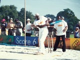 Sir Viv Richards of the West Indies shows off his batting skills during the ECB Cricket Roadshow held at Clapham Common, in London.