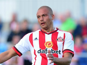 Wes Brown of Sunderland in action during a pre season friendly between Darlington and Sunderland at Heritage Park on July 9, 2015 in Bishop Auckland, England.