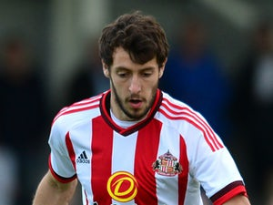 Will Buckley of Sunderland in action during a pre season friendly between Darlington and Sunderland at Heritage Park on July 9, 2015 in Bishop Auckland, England.