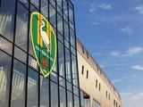 A general view of the club logo on the main entrance of the stadium prior to the Eredivisie match between ADO Den Haag and FC Twente at Kyocera Stadium on March 24, 2012 in The Hague, Netherlands.