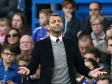 Aston Villa's English manager Tim Sherwood gestures during the English Premier League football match between Chelsea and Aston Villa at Stamford Bridge in London, on October 17, 2015
