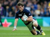 Peter Horne of Scotland scores his teams first try during the 2015 Rugby World Cup Quarter Final match between Australia and Scotland at Twickenham Stadium on October 18, 2015 in London, United Kingdom.