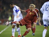 Belgium's forward Radja Nainggolan (R) vies with Israel's forward Tomer Hemed (L) during the Euro 2016 qualifying football match between Belgium and Israel, at the King Baudouin Stadium, on October 13, 2015