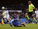 Bobby Zamora of Brighton & Hove Albion FC scores a goal for Brighton & Hove Albion FC during the Sky Bet Championship match between Leeds United and Brighton & Hove Albion at Elland Road on October 17, 2015 in Leeds, England.