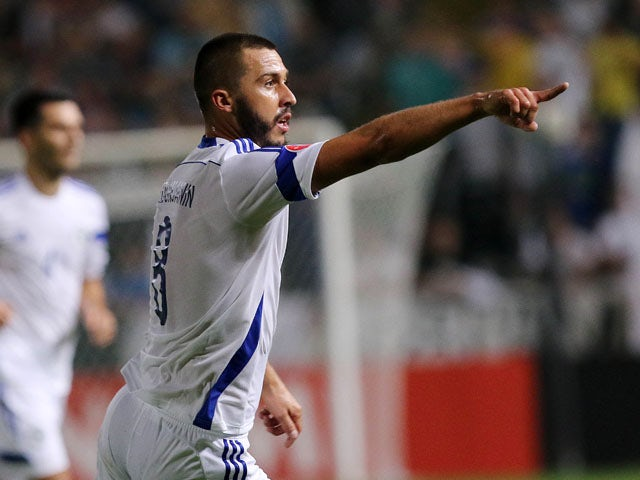 Bosnia and Herzegovina's Haris Medunjanin gestures during the Euro 2016 qualifying football match against Cyprus on October 13, 2015