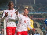 Swiss Breel Embolo (7) reacts after the Euro 2016 Group E qualifying football match between Estonia and Switzerland at A Le Coq Arena in Tallinn on October 12, 2015