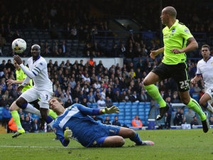 Bobby Zamora of Brighton & Hove Albion FC scores a goal for Brighton & Hove Albion FC during the Sky Bet Championship match between Leeds United and Brighton & Hove Albion at Elland Road on October 17, 2015