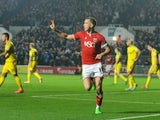 Aaron Wilbraham of Bristol City celebrates his sides second goal during the Sky Bet Championship match between Bristol City and Nottingham Forest at Ashton Gate on October 16, 2015 in Bristol, England.