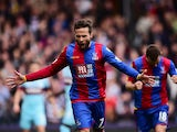 Yohan Cabaye of Crystal Palace celebrates scoring his team's first goal from the penalty spot during the Barclays Premier League match between Crystal Palace and West Ham United at Selhurst Park on October 17, 2015
