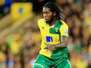Dieumerci Mbokani of Norwich City during the Capital One Cup Third Round match between Norwich City and West Bromwich Albion at Carrow Road on September 23, 2015 in Norwich, England.
