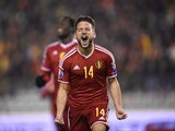 Belgium's forward Dries Mertens celebrates after scoring during the Euro 2016 qualifying football match between Belgium and Israel at the King Baudouin Stadium in Brussels on October 13, 2015