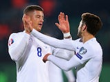 Ross Barkley of England (8) celebrates with Adam Lallana as he scores their first goal during the UEFA EURO 2016 qualifying Group E match between Lithuania and England at LFF Stadionas on October 12, 2015