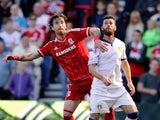 Middlesbrough's Fernando Amorebieta and Leeds United's Mirco Antenucci challenge during the Sky Bet Championship match between Middlesbrough and Leeds United at the Riverside on September 27, 2015 in Middlesbrough, England.