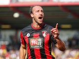 Glenn Murray of Bournemouth celebrates scoring his team's first goal during the Barclays Premier League match between A.F.C. Bournemouth and Watford at Vitality Stadium on October 3, 2015 in Bournemouth, United Kingdom.