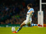 Nicolas Sanchez of Argentina kicks a penalty during the 2015 Rugby World Cup Quarter Final match between Ireland and Argentina at the Millennium Stadium on October 18, 2015 in Cardiff, United Kingdom.