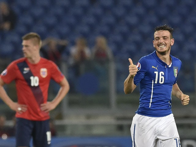 Italys' midfielder Alessandro Florenzi celebrates after scoring during the Euro 2016 qualifying football match between Italy and Norway at Rome's Olympic stadium,on October 13, 2015
